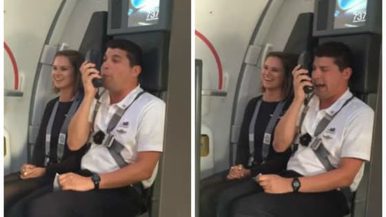 Landing speeches on airplanes are almost always dull to the point that many passengers ignore them completely, but this flight attendant and puppeteer Zach Haumesser captured everyone's attention with some cartoon magic!