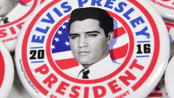 Learn more about Elvis for President at Graceland.com/President - and enter to win an Elvis for President campaign kit!