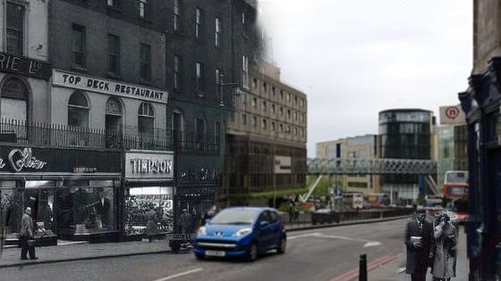 Thirty then and now comparisons showing the many changes which have taken place across the Scottish capital over the years.