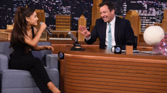 """Ariana Grande went on Jimmy Fallon's """"The Tonight Show"""" where she was challenged to a game of random musical impressions. She was so good that Fallon stood up and said, """"We should just stop the show there. I don't know how we can continue."""""""