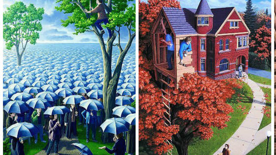 Artist Rob Gonsalves creates insane illusions with his talent. Which version of the scene do you see first?