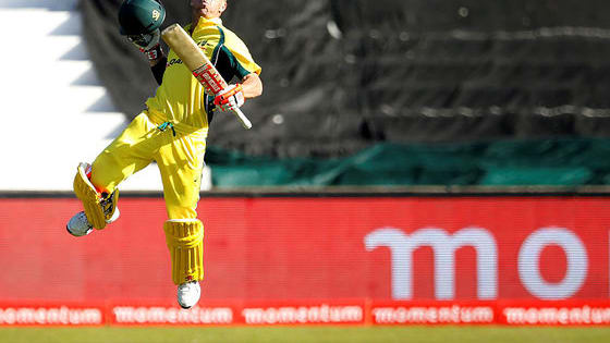 Does David Warner leap as frequently after scoring a hundred in ODIs like in Tests?