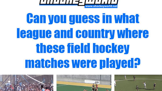 Try to guess from the screenshot the league and country where the field hockey match was played.