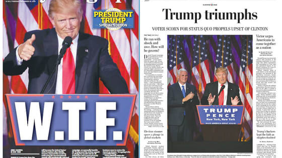 From newspapers to dignitaries, here is how the world is reacting to the news of Donald Trump's election.