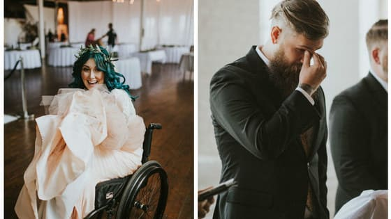 After a traumatic accident confined her to a wheelchair, Jaquie still wanted to walk down the aisle. After a year of physical therapy, she did, and it was beautiful.