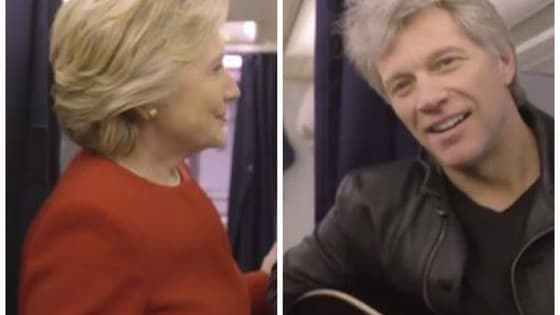 With a little help from Bon Jovi, the Clinton team stood still to urge voters not to!