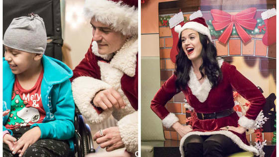 Pop superstar Katy Perry and her dashing boyfriend Orlando Bloom made a special visit to the LA Children's hospital dressed as Mrs. Claus and Santa! Check out their jolly visit here!