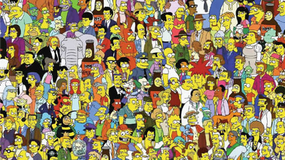 Where's Waldo? How fast can you find him in this Simpsons cast Photo. Have Fun!!!