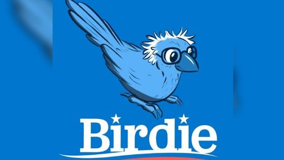 What is the symbolism behind the little bird that touched down next to Bernie Sanders?