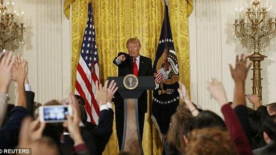 The President celebrated his first month in office, blamed Obama for leaving him 'a mess', and attacked the press for being liars. How do you think it went?