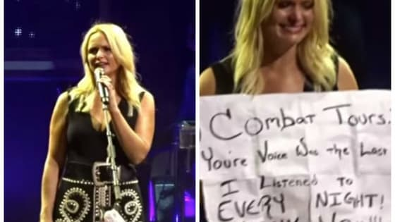 At her concert on Friday, Miranda Lambert saw a sign that stopped her cold, and she had to share it with the world.