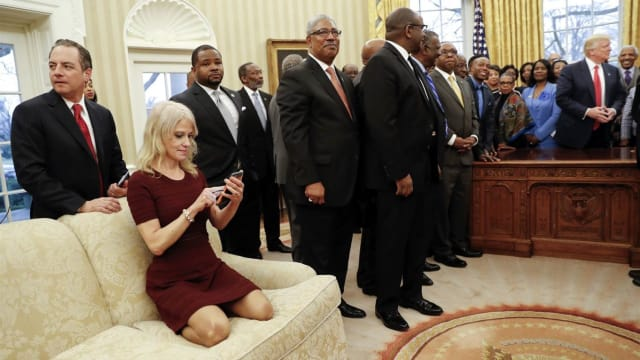 The Trump advisor has now stepped in to comment on the viral photo showing her kneeling on the Oval Office sofa. Do you still think it was disrespectful?