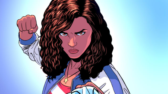 Miss America is 18 years old and can punch through dimensions because why not?! She goes to Sotomayor University, and she's the first Latina with her own comic book!
