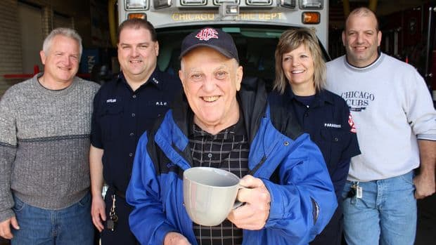 Although he retired in 1998, Bob Zolna still drinks coffee with the current firefighters at the Mount Greenwood Fire Station every morning except Sunday, and when he suddenly went into cardiac arrest, it was up to them to save him. Find out more about this amazing story here.