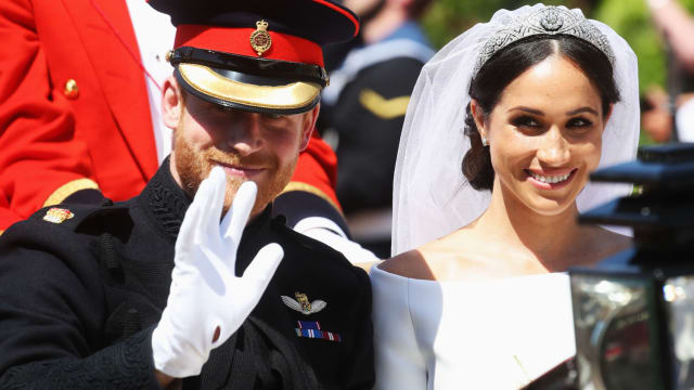 See Hollywood celebrities and royal family members all dressed up for Meghan Markle and Prince Harry's wedding.