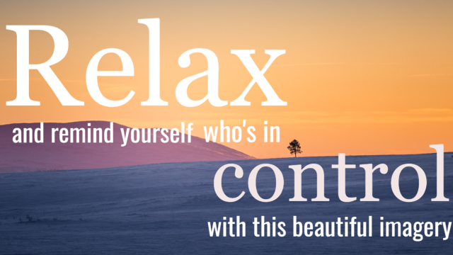 Take a break from today's stress and remind yourself who is in control - You. You'll feel so much better if you do. Give it a try!