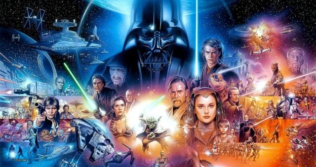 En la imagen se ven varios de los personajes de Star Wars y escenas de vistas en la trilogía.