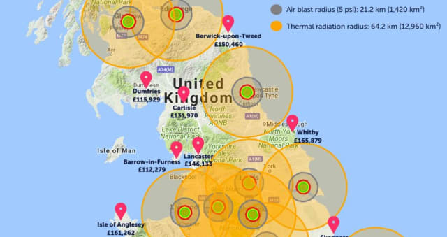 Map Of Uk Nuclear Bunkers.Bizarre Map Reveals Best Place In Yorkshire To Avoid Ww3 Nuclear