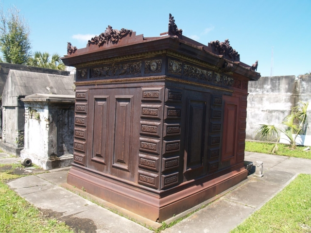 A metal crypt at Odd Fellows Rest Home