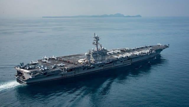 USS Carl Vinson sits in the Sunda Strait, Indonesia.