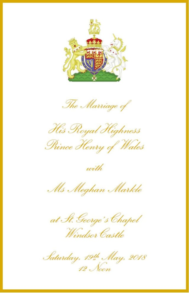 Royal Wedding The Full Order Of Service For Harry And Meghans