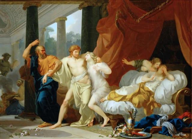 """Alcibíades tenía una cantidad impresionante de pretendientes. Él, guiado por su carácter ambicioso y arrogante, eran pocas las veces que decía que no. Sócrates era siempre quien lo sacaba de embrollos y lo alejaba de las """"malas juntas"""", la lujuría y los malos tratos."""