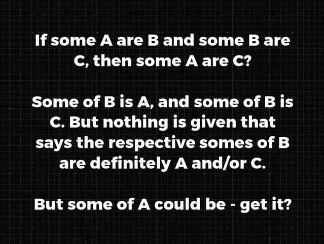 This is logic 101. If some A are B, and some B are C. Then Some A are C? Of course not!