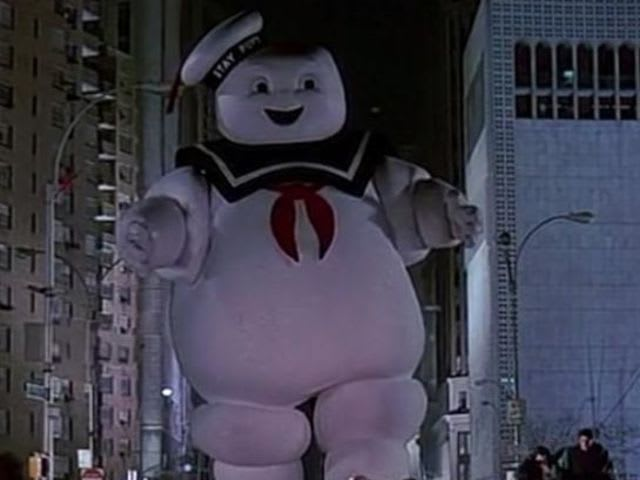 What stops the Stay-Puft man's character?