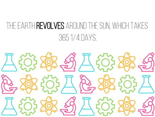 """Earth's motion around the Sun. Takes 365 1/4 days."""