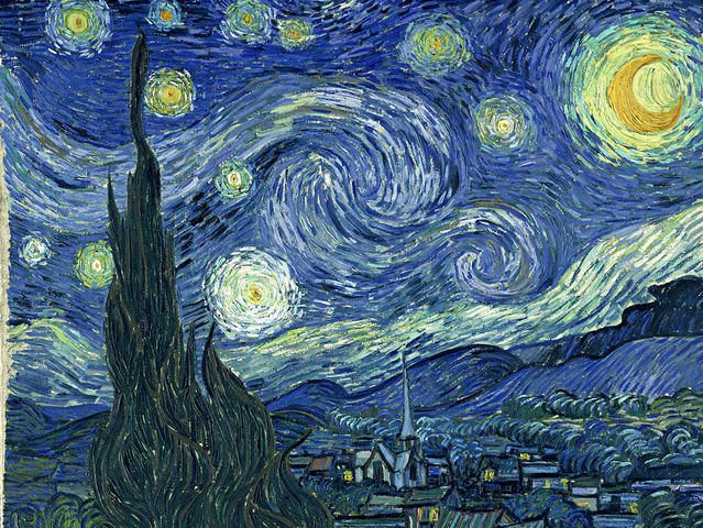 What color stands out most to you in Starry Night by Vincent van Gogh?
