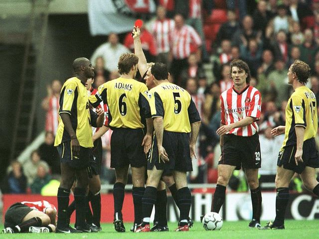 Patrick Viera received 8 red cards during his Premier League career, this puts him joint first with which Irish player?