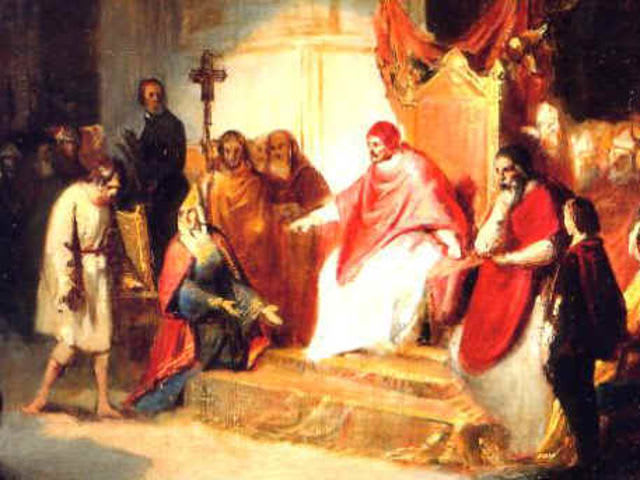 Emperor Henry IV went to Canossa to beg forgiveness from which Pope?