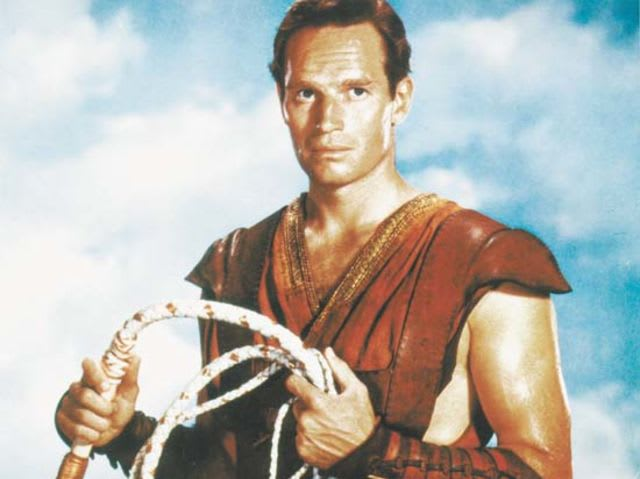 It's actor Charlton Heston! He served in the Air Force during World War II.