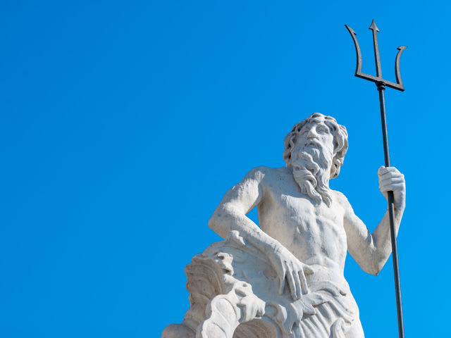 Neptune, god of the sea.