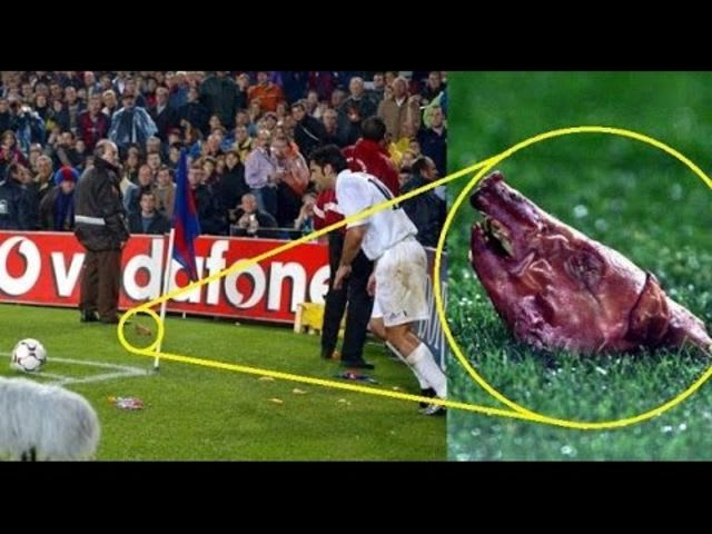 "Amidst the chants of ""traitor"" and ""Judas,"" Figo had a pig's head among other thing thrown at him."