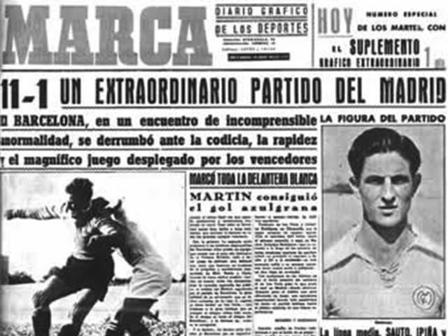 "In 1943 Barcelona beat Madrid 11-1 after General Franco famously visited the Barca dressing room to 'remind' them that they were only playing due to the ""generosity of the regime."""