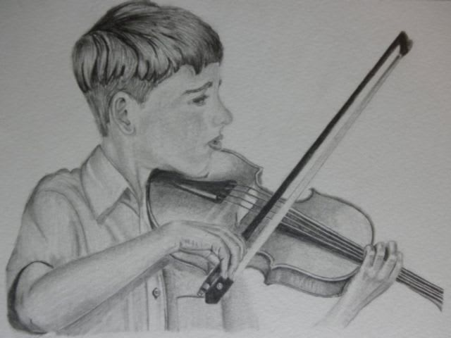 boy playing violin sketch