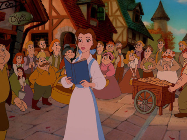 Why is Belle the only one in her village that is wearing blue?