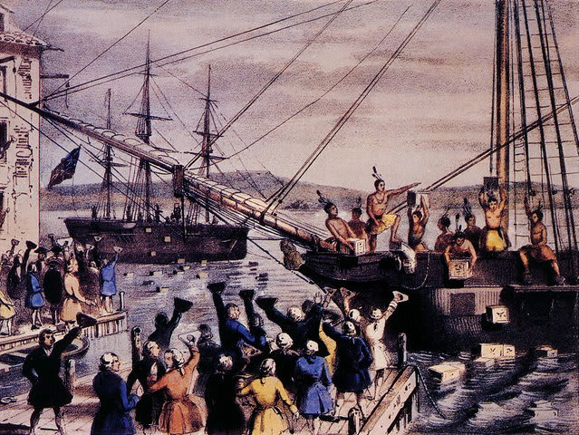 The Boston Tea Party political protest happened on this day in what year?