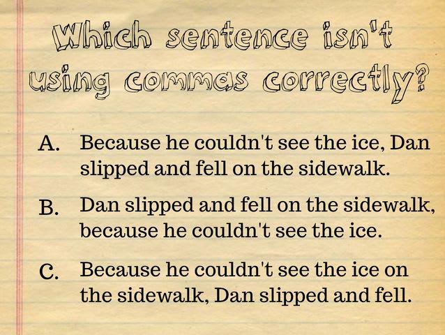 Comma quiz questions
