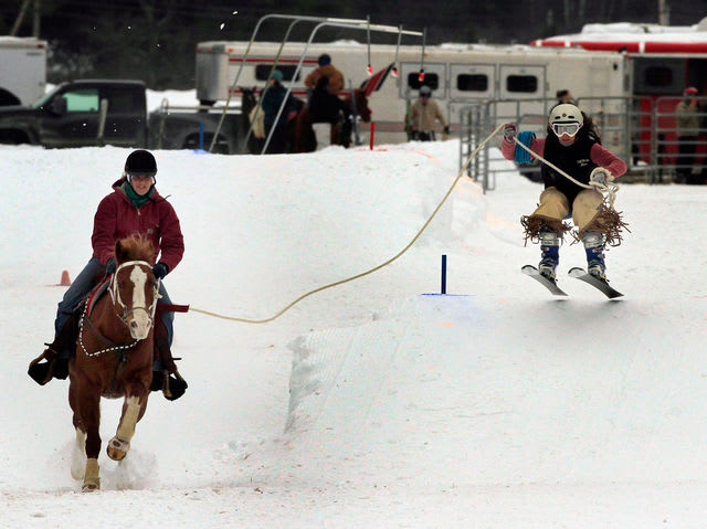 Skijoring involves a skier being towed behind a horse, dog or motor vehicle. It was competed as a demonstration sport at the St Moritz 1928 Olympic Winter Games.