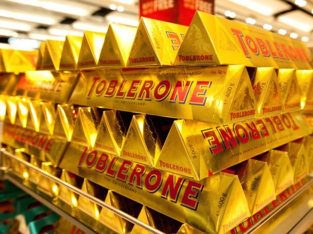 What else could this odd pyramid of chocolate be but a Toblerone bar!