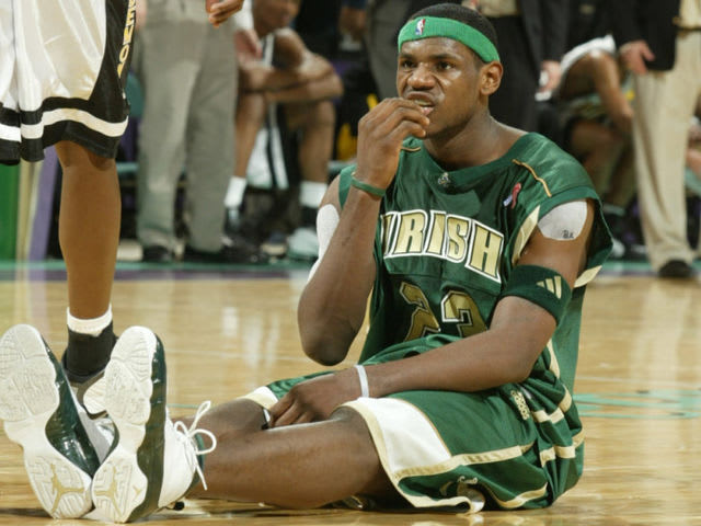 LeBron did wear a player exclusive version of the Huarache 2K3, but was already in the league by the time the 2K4 hit.