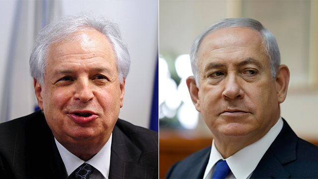 Photo: EPA, Yuval Hen Bezeq majority shareholder Shaul Elovitch and Prime Minister Benjamin Netanyahu