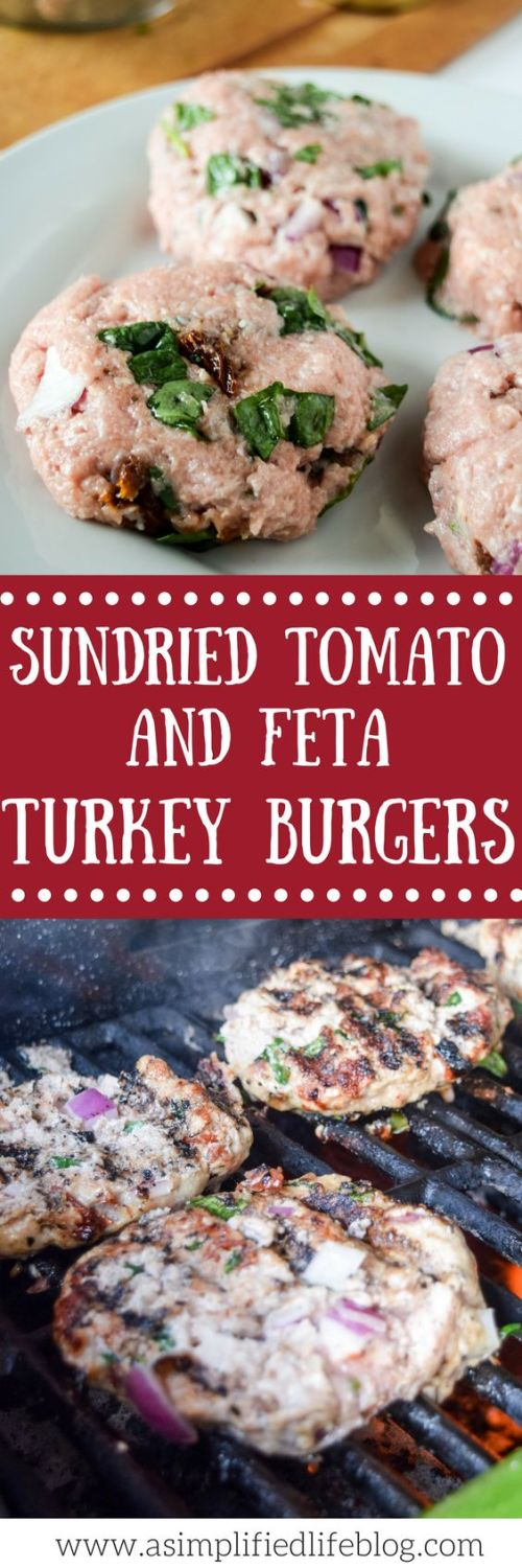 Bursting with flavor, these sundried tomato and feta turkey burgers are a great healthy alternative to throw on the grill!