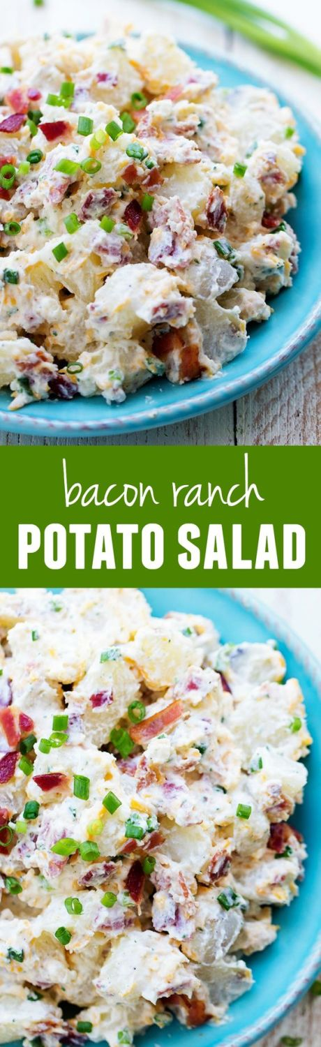 A creamy and delicious potato salad with amazing ranch flavor and bacon! This is the perfect side to take to a potluck and is sure to be a huge hit!