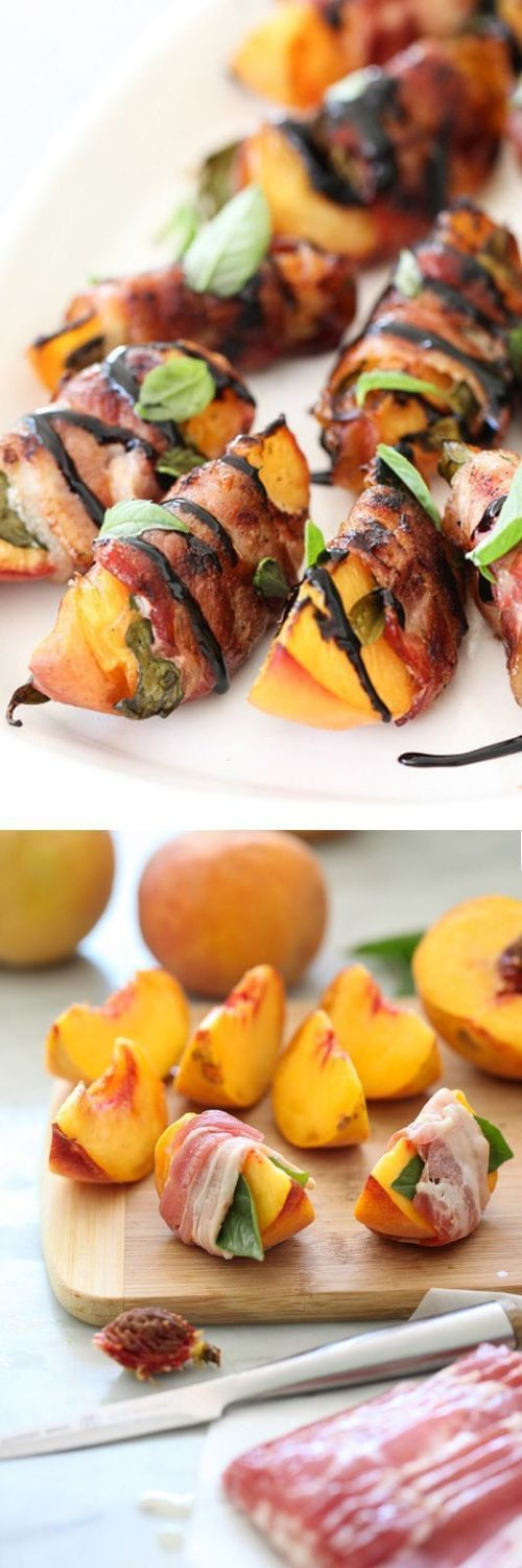 Salty bacon amps up the sweetness of local peaches at their peak freshness and the thick balsamic drizzle gives another touch of tart and sweet.