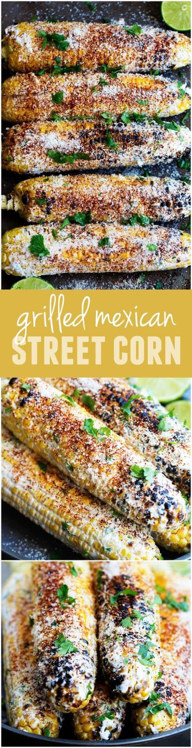 This corn gets grilled and slathered with an amazing mayonnaise blend and topped with parmesan cheese and chili powder.