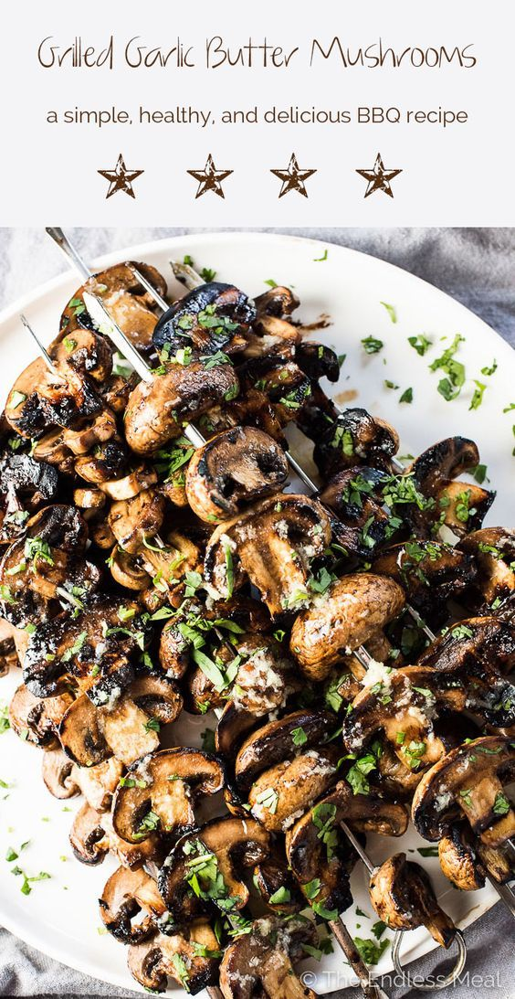 Grilled Garlic Butter Mushrooms are a super easy to make, healthy, and delicious summer BBQ recipe. They make the perfect side dish recipe or vegan main.