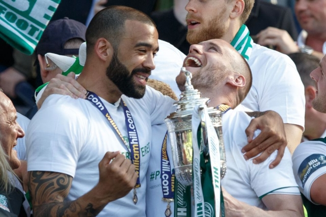 Hibs defender Liam Fontaine (left) has headed north to Ross County